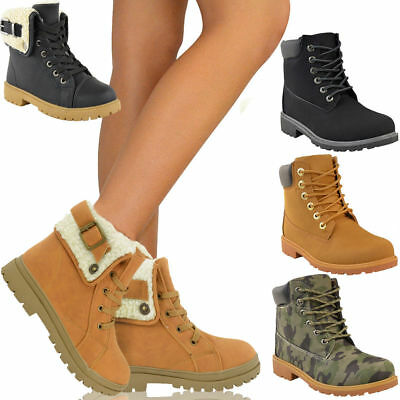 Womens Ladies Army Combat Flat Grip Sole Fur Lined Winter Ankle Boots Shoes