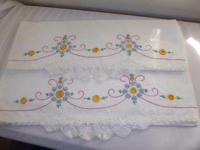 Pr Vtg H Embroidery Blue Forget Me Not H Crocheted Lace Cotton Pillowcases # 7