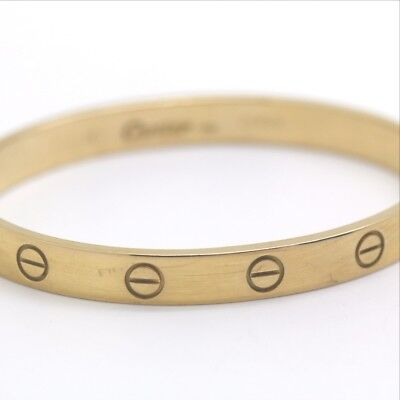 AUTH CARTIER LOVE Love Blur Rubbed Bangle 18K Yellow Gold Women