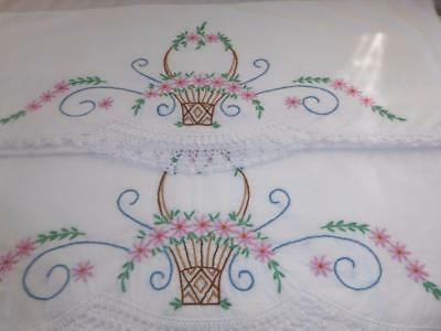 Pr Vtg Hand Embroidery Pink Flower Basket Crocheted Lace Cotton Pillowcases # 11