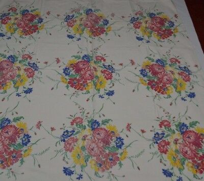 Vintage Tablecloth Printed Mum Daisy Blue Pink Yellow Cotton Kitchey Mid Century