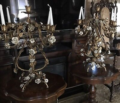 Antique Italian 5 Light Wrought Iron Chandelier Table Lamps Gilded Roses