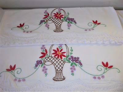 Pr Vtg Hand Embroidery  Flower Basket Crocheted Lace Cotton Pillowcases # 20