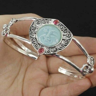 Moon Goddess Turquoise Color Face,Pink Raspberry Silver Bracelet Bangle 7.5-8.5""