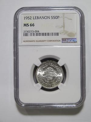 Lebanon 1952 50 Piastres Silver Gem+ Ngc Graded Ms66 World Coin Collection Lot
