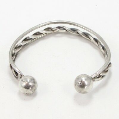 """VTG Sterling Silver - MEXICAN Solid Twisted Wire 7.5"""" Mens Cuff Bracelet - 37g"""