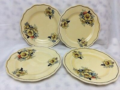 Vintage Steubenville Ivory Lot Of 4 Yellow Floral Bread Plates