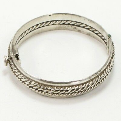 VTG Sterling Silver - MEXICAN Braided Twisted Wire Hinge Bangle Bracelet - 57g