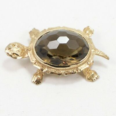VTG Sterling Silver - Gold Plated Smoky Quartz Turtle Pendant Brooch Pin - 5g