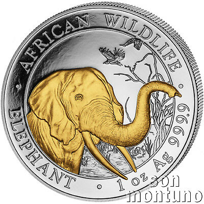 2018 SOMALIA ELEPHANT GILDED IN 24K GOLD 1 Oz .9999 Silver African Wildlife Coin