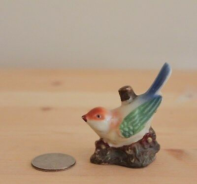Vintage Ceramic Bisque Miniature Song Bird Figurine Made in Occupied Japan