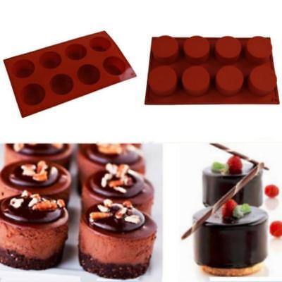 1Pc 8 Holes Round Shape Silicone Cake Mold 3D Handmade Cupcake Jelly Pudding J