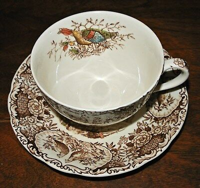 Johnson Brothers Wild Turkeys Brown Native American Cup & Saucer