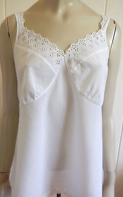 Beautiful vintage white cotton broderie trim camisole size 16 - 18