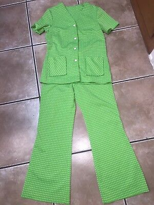 Vintage 60s 70s Lime Green Suit Outfit L Top W/ Bell Bottom Pants Disco Costume