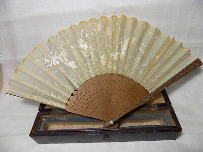 Chinese Antique Embroidery Dragon Silk Fan Carved Guard with Case