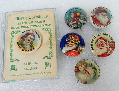 Antique Merry Christmas Santa Claus Whitehead and Hoag Button Pinback Lot