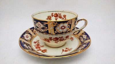 Rare Antique Osborne China Old Imari Style Flow Blue Cup & Saucer Set (s)