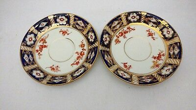 Rare Antique Osborne China Old Imari Style Flow Blue Pair of Saucers 5 5/8""