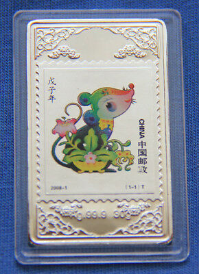 Chinese Zodiac Silver Colour Medal--Year of the Rat 30mmx50mm