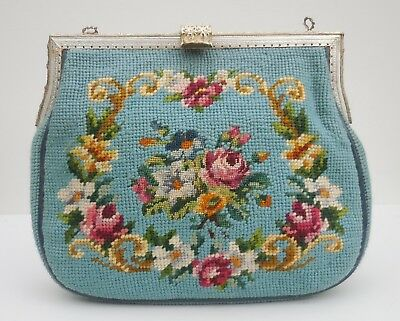 Vtg 40s 50s 60s TAPESTRY NEEDLEPOINT Floral Wool Silver Tooled HandBag Purse!