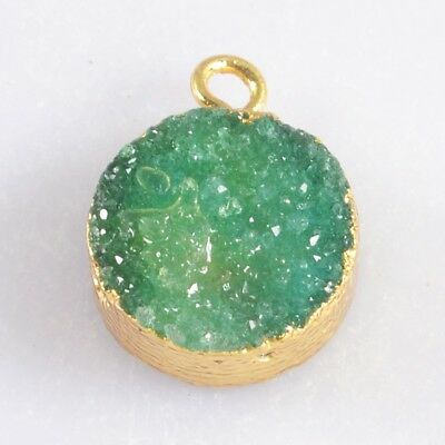 12mm Round Green Agate Druzy Geode Charm One Bail Gold Plated H103496