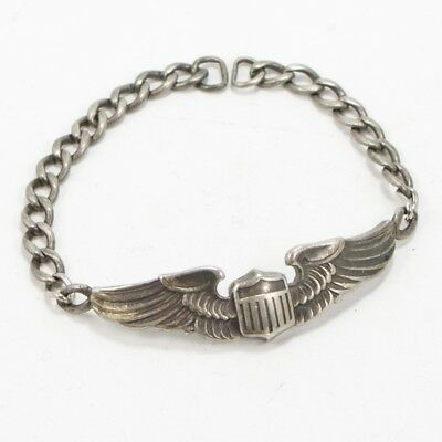 VTG Sterling Silver - WWII US ARMY AIR CORPS Pilot's Wings Tennis Bracelet - 13g