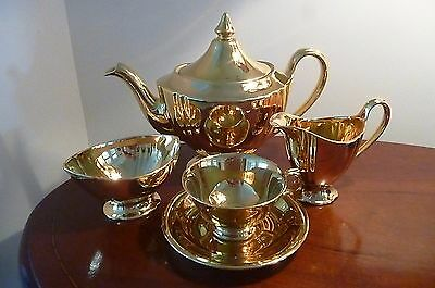 Vintage 1940's ROYAL WINTON gold fired Teapot Creamer Sugar Bowl & Cup & Saucer