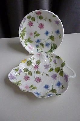 Queens Discontinued Collectable Country Meadow Leaf Dish & Coaster- Pristine