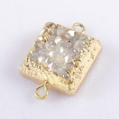 16mm Square Natural Agate Druzy Titanium AB Connector Gold Plated T041579