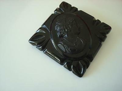 Vintage Chunky Black Bakelite or Other Plastic Cameo Lady Pin Brooch
