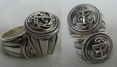 anchor  sailboat navy nautika SILVER RING 925