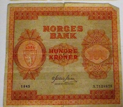 NORWAY 100 KRONER 1945 Norges Bank Note - WWII Currency A7128878 Good Condition