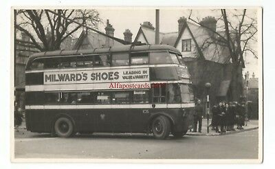 Berks Reading Motor Bus at Whitley Street Top Real Photo Vintage Postcard 16.7