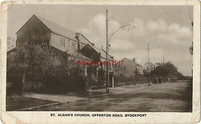 Cheshire Stockport St Albans Church Offerton Road Real Photo Vintage PC 12.9