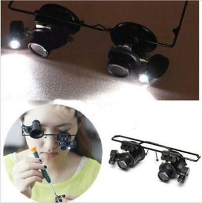 Magnifier LED Double Eyes Jeweler Watch Repair Magnify Glasses Loupe Camping JA