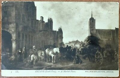 Isaac Van Ostade -  Market Place - The Wallace Collection - Antique Postcard