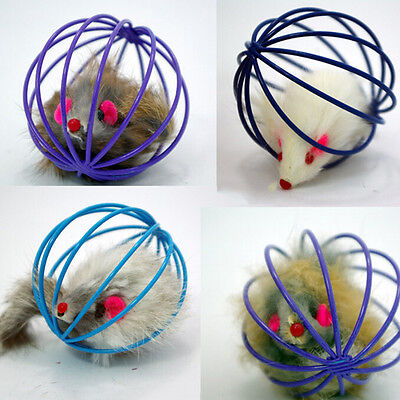 Funny Gift Play Playing Toys False Mouse in Rat Cage Ball For Pet Cat Kitten JSU