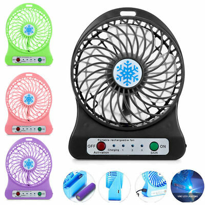 Portable Rechargeable LED Light Fan Air Color Mini Desk USB 18650 Battery Fan UK