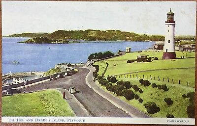 The Hoe And Drake's Island Plymouth - 1958 Salmon Postcard - Written