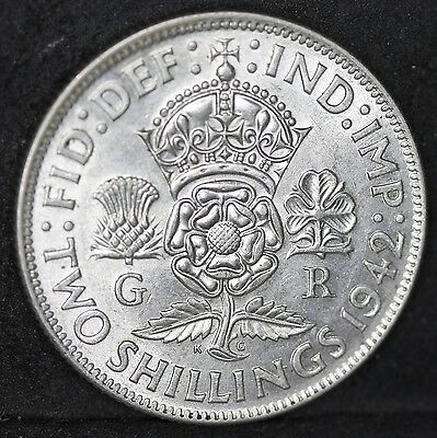 George VI. Three Silver Florins, Two Shillings, 1937, 1942 & 1945. EF - UNC