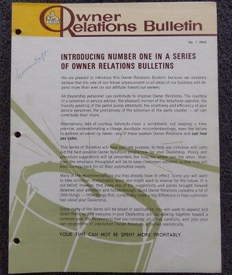 """Holden """"Owner Relations Bulletin"""" No.1 1969 Very Rare - Good Condition!"""