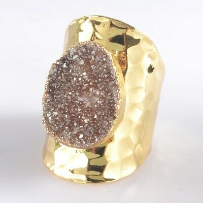 Defective Scratched Size 7.5 Agate Titanium Druzy Ring Gold Plated T047101