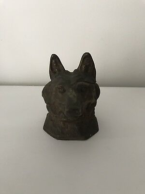 Antique Vintage Brass/metal Wolf Dog Head Desk Inkwell / Ink Pot - Exterior Only
