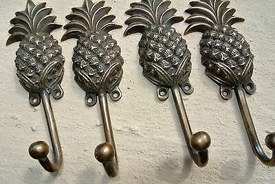 4 medium PINEAPPLE COAT HOOKS solid age brass vintage old style 15 cm hook B