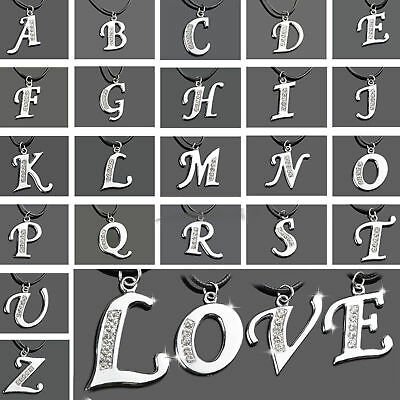 Hot Charm Crystal Stainless Steel A-Z Letter Initial Alphabet Pendant Necklace
