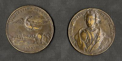 Frederick The Great King Of Prussia Battle Of Prague 1757 Brass Medallion