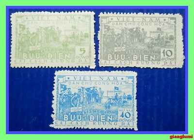 North Vietnam Land reform Lot of 3 stamps MNH NGAI