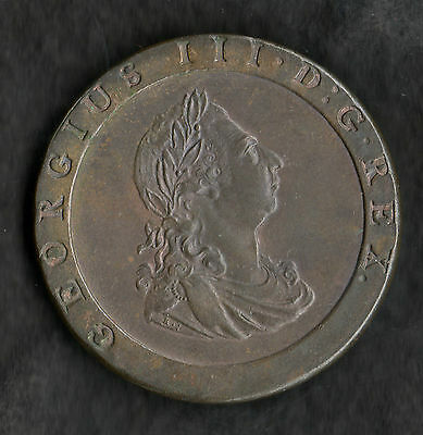 1797 George III Cartwheel Penny Near Uncirculated With Hint Of Lustre, Superb!
