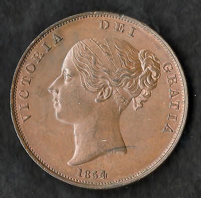 1854 Queen Victoria Large Copper Penny Ornamental Trident near UNC